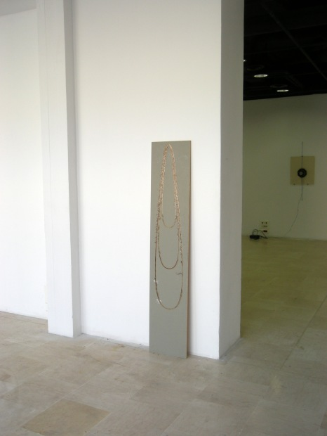System error, grey paint on wood, engraved by a machine, 170 x 40 cm, 2009