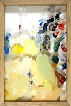 La palette du précédent mec, différents restes de peintures sur verre, encadrée, 53 x 35,5 cm, 2015.
